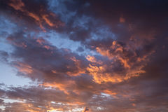 Burning sky. With red clouds at dawn royalty free stock photos