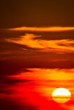 Burning sky at sunset view Royalty Free Stock Image
