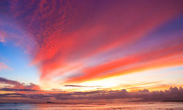 Burning Sky, Waikiki Oahu Stock Images
