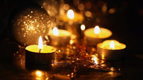 Burning small candles stock video footage