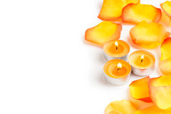 Burning small candles with rose petals and copy space Royalty Free Stock Photos