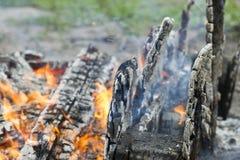 Burning smoldering firewood with black background Royalty Free Stock Photos