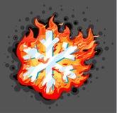 Burning Snowflake. Vector cartoon illustration horizontal, design element, over dark background, isolated Stock Image