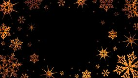 Burning snowflakes rotate on a transparent background. Video with alpha channel. Looped animation stock video footage