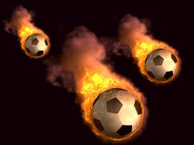 Burning soccer ball Stock Photos