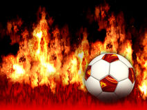 Burning Soccer Ball. On black background Stock Images