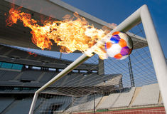 Burning Soccer Ball Heading The Goal Stock Photos
