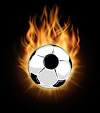 Burning soccer ball  over black background. Ball in fire and football goal, vector illustration Stock Image