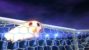 Burning soccer ball is slowly flying in the goal. Against night sky background, 3d animation
