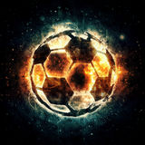 Burning soccer ball. Stock Photo
