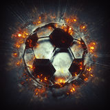 Burning soccer ball. Royalty Free Stock Photo