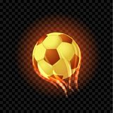 Burning soccer balls isolated on a black transparent backdrop. Vector EPS 10 Royalty Free Stock Image