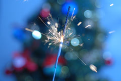 Burning sparkler. Front a christmas tree Royalty Free Stock Photography