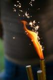Burning sparkler Royalty Free Stock Images