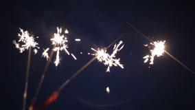 A burning sparkler on a black background.  stock video footage