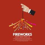 Burning Sparkler Firework In Hand. Vector Illustration Stock Photo
