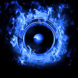 Burning Speaker with real flames effect. Hot Burning Speaker with real flames effect Royalty Free Stock Image