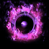 Burning Speaker with real flames effect Royalty Free Stock Photography