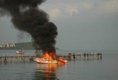 Burning speedboat Royalty Free Stock Photos