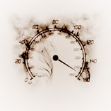 Burning speedometer. Illustration of the burning speedometer in the smoke Stock Images