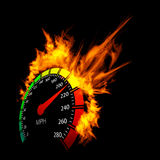 Burning speedometer Stock Photo