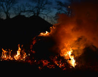 Burning stack of hay Royalty Free Stock Photography