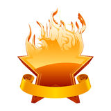 Burning star emblem Stock Photography