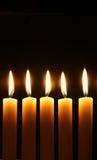 burning stearinljus fem Royaltyfri Foto