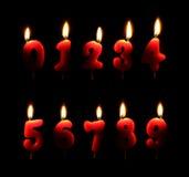 burning stearinljus nummer Fotografering för Bildbyråer