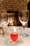Burning stearinljus på den tjänade som tabellen Royaltyfri Bild