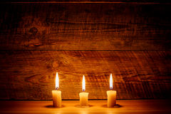burning stearinljus tre Arkivbilder