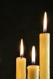 burning stearinljus tre Fotografering för Bildbyråer