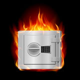 Burning steel safe Royalty Free Stock Images
