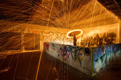 Burning steel wool fireworks Royalty Free Stock Images
