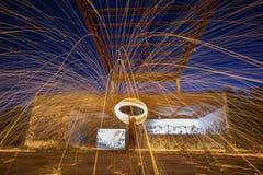 Burning steel wool fireworks Stock Images