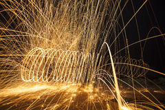 Burning steel wool fireworks Stock Photography