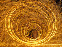 Burning steel wool fireworks Stock Photos
