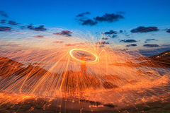 Burning steel wool fireworks Royalty Free Stock Photography