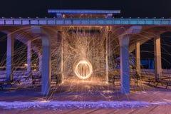 Burning Steel Wool Stock Image