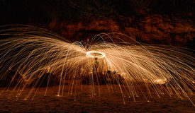 Burning steel wool on stone Royalty Free Stock Photography