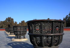 The Burning Stoves in The Temple of Heaven. These eight iron stoves were used to burn the offerings placed in front of the tablets of the first eight Qing Stock Images