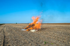 Burning straw Royalty Free Stock Photography