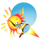 Burning Sun. Vector cartoon illustration related to tanning: the summer sun uses his burning glass to heat some surface or produce sunburn Stock Images