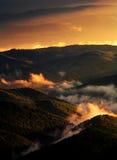 Burning sunset hills. Carpatian mountains Ukraine sunset golden Stock Photos