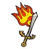 burning sword cartoon Royalty Free Stock Photo