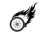 Burning symbol of a bicycle wheel. Black and white logo the burning of a bicycle wheel Stock Photography