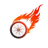Burning symbol of a bicycle wheel Stock Photos