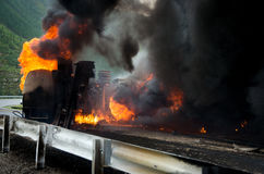 Burning tank truck road accident Stock Photography