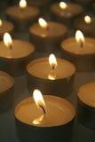 Burning Tea Light Candles Stock Photo