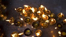 burning tempel för smörkathmandu lampor Arkivfoto